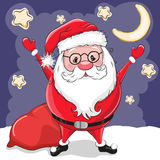 Santa with gifts. Cute Cartoon Santa with gifts on a stars background Stock Photo