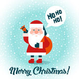 Santa with gifts. Merry Christmas! Flat design. Vector. Stock Photography