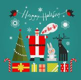 Santa with Gifts Presents Deer and New Year Tree Royalty Free Stock Images