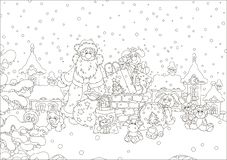 Santa with gifts on a snow-covered roof royalty free stock images