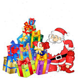 Santa with gifts vector Royalty Free Stock Photography