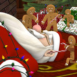 Santa in Gingerbread man Attack Stock Image