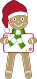 Santa Gingerbread Man. Vector Illustration of a Cute Cartoon Gingerbread Man in Santa Claus Hat. An EPS file is also available stock illustration