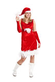 Santa girl. Pretty young blond girl with santa costume Royalty Free Stock Images