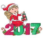 Santa Girl 2017 Stock Foto