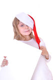 Santa girl with a banner Stock Photography
