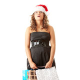Santa girl bear diverse bags,isolated on white Royalty Free Stock Photos
