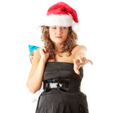 Santa girl bear diverse bags,isolated on white Stock Photography