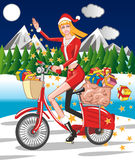 Santa Girl on a bicycle Stock Images