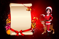 Santa girl with big sign and reindeer Stock Photography