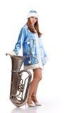 Santa girl with big trumpet Stock Photos