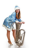 Santa girl with big trumpet Stock Photography