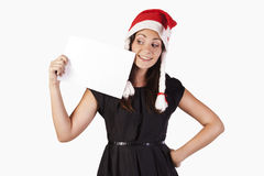 Santa girl with a blank Royalty Free Stock Image