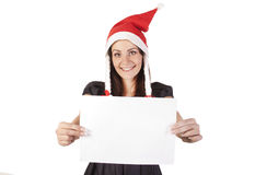 Santa girl with a blank Stock Images
