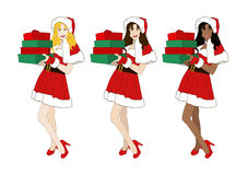 Santa Girl Blond Brown Black Holding Presents Pile Stock Photo