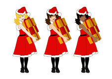 Santa Girl Blonde Brown Black Holding Presents Pile Stock Photography
