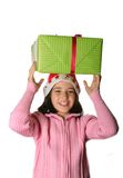Santa girl with box Royalty Free Stock Photography