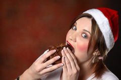 Santa girl with cake Stock Photo