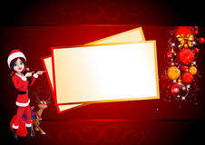 Santa girl with cards on red background Royalty Free Stock Image