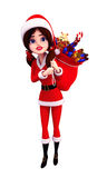 Santa girl carrying gift bag on back Stock Photos