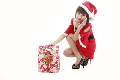 Santa girl on cellphone Stock Image