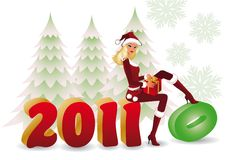 Santa girl changing 2010 for new year 2011.  Royalty Free Stock Image