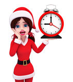Santa Girl Character avec l'horloge de table Photographie stock