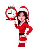 Santa Girl Character avec l'horloge de table Photos stock