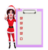 Santa Girl Character avec le bloc-notes Photographie stock
