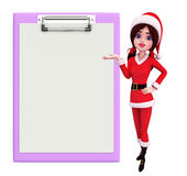 Santa Girl Character avec le bloc-notes Images stock