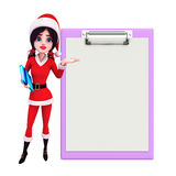Santa Girl Character avec le bloc-notes Image stock