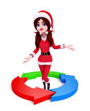 Santa Girl Character with circular graph Stock Image