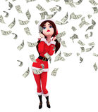 Santa Girl Character com dólar Fotos de Stock Royalty Free