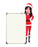 Santa Girl Character with display board Stock Photos