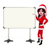 Santa Girl Character with display board Stock Photo