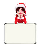 Santa Girl Character with display board Royalty Free Stock Photos