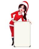 Santa Girl Character with display board Royalty Free Stock Photo
