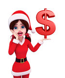 Santa Girl Character with dollar sign Stock Photography