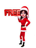 Santa Girl Character with free sign Royalty Free Stock Photo