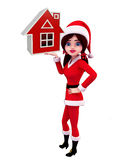 Santa Girl Character with home sign Royalty Free Stock Photography