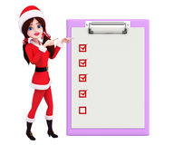 Santa Girl Character with notepad Royalty Free Stock Image