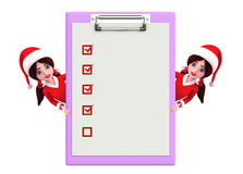 Santa Girl Character with notepad Stock Photography