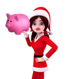 Santa Girl Character with piggy bank Stock Photos