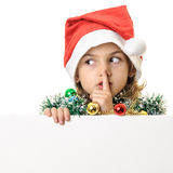 Santa girl child quiet sign Royalty Free Stock Images