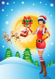 Santa girl with christmas background Royalty Free Stock Photos