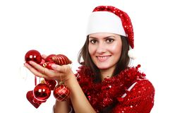 Santa girl with Christmas balls Stock Photo