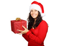 Santa girl and christmas gift. Santa girl holding christmas gift isolated on white background Stock Images