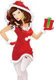 Santa girl with christmas gift Stock Photo