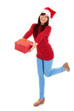 Santa girl and Christmas gift Royalty Free Stock Photo