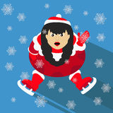 Santa girl Christmas New Year on blue background sitting with skates and waves up  illustration. Santa girl Christmas New Year on blue background sitting with Stock Photography